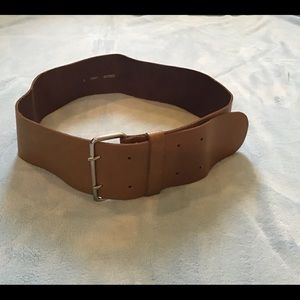 Divided wide brown belt, EUC, Small, double buckle
